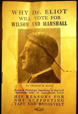 President Wilson campaign Flyer 1912 Letter From Dr. Eliot,Bert sugar Collection