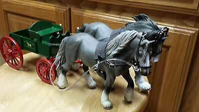Breyer  Collecta draft horse team with Custom harness leather with cart Schleich