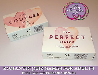 COUPLES QUIZ or PERFECT MATCH Romantic Adult Fun VALENTINES LOVE CARD GAME Gift