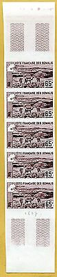 MNH Somali Coast Proof/Imperf Strip of 5 (Lot #scs20)