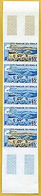 MNH Somali Coast Proof/Imperf Strip of 5 (Lot #scs11)