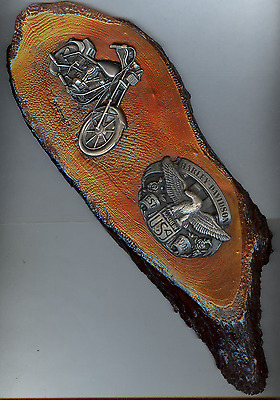Harley Davidson Buckles Mounted on Pine Wall Plaque