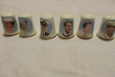 BIRCHCROFT FINE BONE CHINA THIMBLES SET OF 6  Royal Family Made in Great Britian