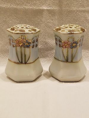Art Nouveau Floral Nippon Moriage Made in Japan SALT & PEPPER SHAKERS