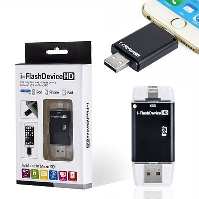 USB i-Flash Drive HD Micro SD Memory Card Reader Adapter For iPhone 6s 6plus iOS