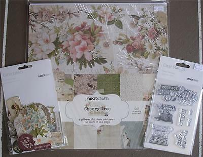 "Bulk Lot Kit ~ Cherry Tree Lane ~ 12 Papers Stickers Stamp Set Die Cuts 12""x12"""