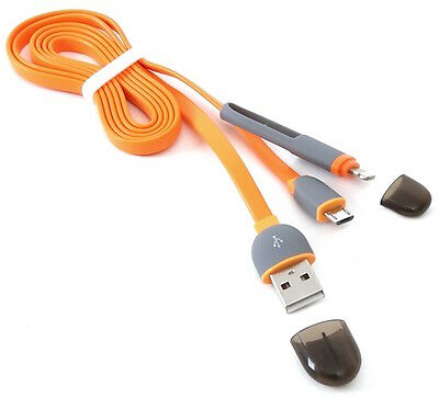 Cavo 2In1 Lightining E Micro Usb 1Mt Orange