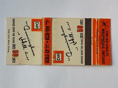 CUNNINGHAM & HILL LIMITED WILLOWDALE ONTARIO 50th ANNIVERSARY 1971 MATCHBOOK