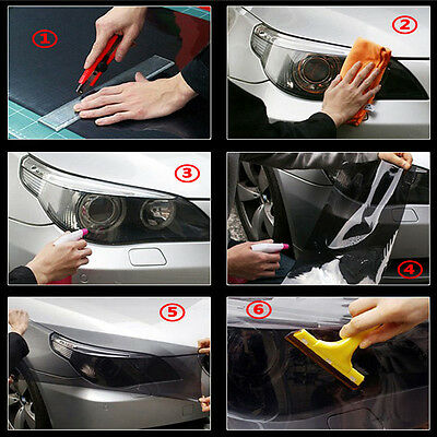 Hot Dark Black 30*60cm Tint Headlight Taillight Fog Light Vinyl Film Cover Sheet