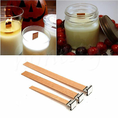 2-15x Wooden Candle Wick Core Wick With Iron Stand Making Party DIY Multi Size