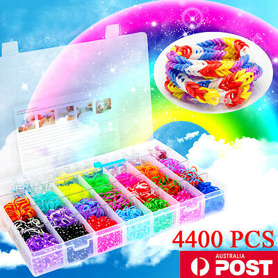 Large Rainbow Loom Band Case Kit 4400 Bands Board Loom Hooks Clips + Free Charms