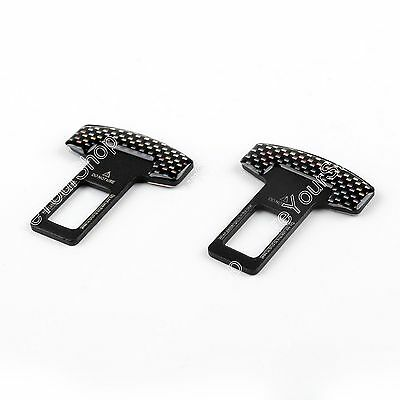 2xUniversal Carbon Fiber Car Safety Seat Belt Buckle Alarm Stopper Clip Clamp AU