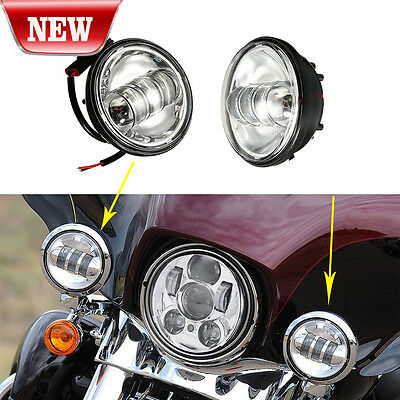 "2x 4-1/2"" Chrome LED Spot Fog Passing Light Lamp For Harley Davidson Motorcycle"