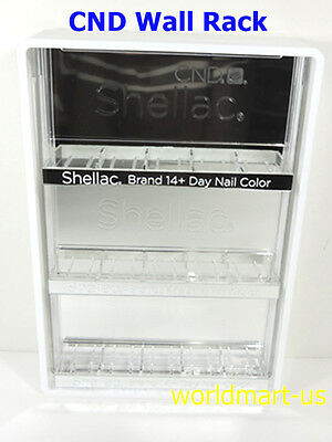 CND Nail Polish Wall White Rack w/Back Mirror SALON Display Hold 15 CND Bottles