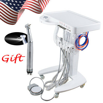Portable Dental Delivery Mobile Cart Unit Equipment 4 Hole syringe LED Handpiece