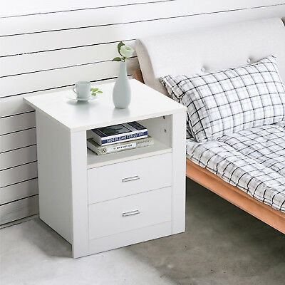 Bedside Table Retro Cabinet 2 Drawers Shelf Side Nightstand Unit Storage White