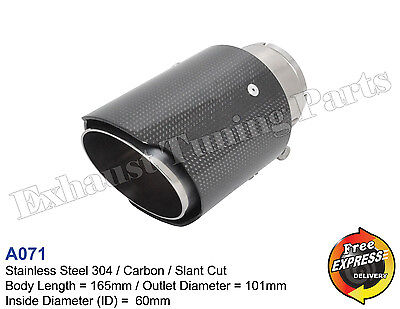 Exhaust Tip Tailpipe trim S/Steel carbon 101mm for VW AUDI BMW MERCEDES MG OPEL