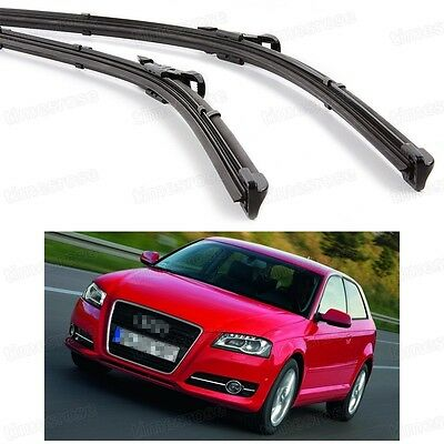 2Pcs Car Front Windshield Wiper Blade Bracketless Fit for Audi A3 2004-2012