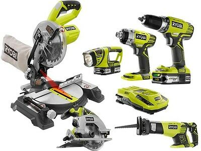 Ryobi ONE+ 18-Volt Lithium-Ion Cordless Combo Kit with Miter Saw 6-Tool