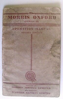 Morris Oxford Series 2 Owners Operation Manual In Good Usable Condition