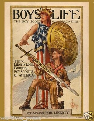 10 New Postcards - Cover of Boys' Life - May 1918 - Great Patriotic Image of WWI