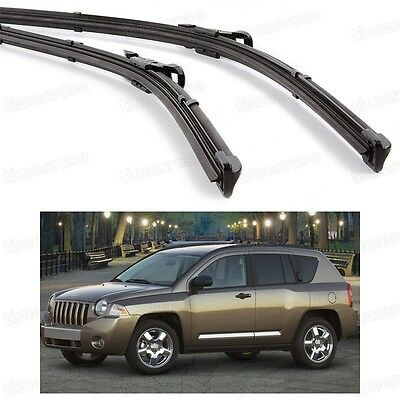 2Pcs Car Front Windshield Wiper Blade Bracketless for Jeep Compass 2007-2010
