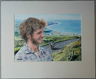 Original Art Coloured Pencil Motorsport Drawing Guy Martin by Stephen Russell