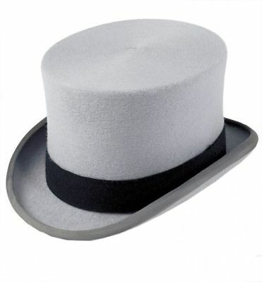 Men's Formal 100% Wool Grey Top Hat All Sizes Ascot Or Wedding Use