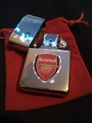 * Shiny Silver Arsenal Football Club Design Lighter With A Red Velvet Gift Pouch