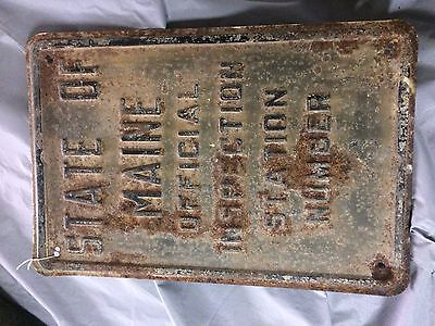 Very Rare 30's Maine Repair Garage Gas Station Embossed State Inspection Sign