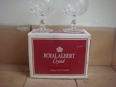 TWO ROYAL ALBERT 24% LEAD CRYSTAL COUNTESS BRANDY GLASSES BOXED Mint