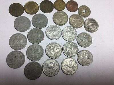 24 Spanish coins- 10 cents X 15 - 1945 to 1953 Plus Mix Of Smaller Denom.