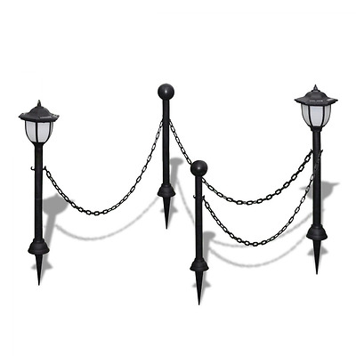 Lamp Post Chain Fence with Solar Lights Two LED Lamps Poles Garden Lighting