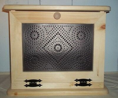 Handcrafted Wooden Bread Box with Shelf and Punched Tin Decorated Front Door