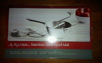 My Perfect Kitchen 2 Quart Stainless Steel Food Mill NEW IN BOX Easy to Clean