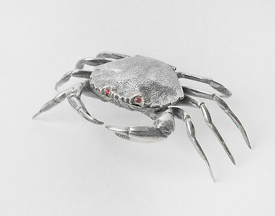 Spanish Solid 800 Silver Figural Naturalistic Crab Salt Cellar with Hinged Lid