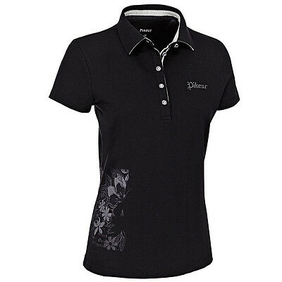 Pikeur Yvonne Polo Shirt Top black ladies fitted short sleeve top