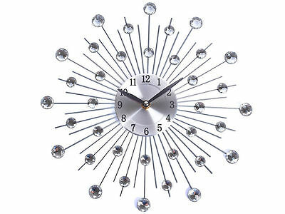 33Cm Modern Stylish Silver Diamante Beaded Jewel Round Sunburst Metal Wall Clock