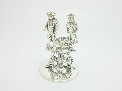 Antique Hendrik Hooijkaas Silver Plate Dutch Fruit Trader Scene Miniature Figure