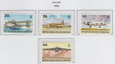 British Indian Ocean Territory  'Aircraft'  1992 Set of 4 Stamps U/Mint
