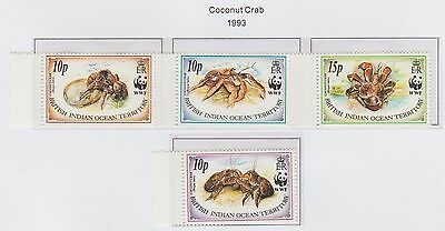 British Indian Ocean Territory 'Coconut Crab' 1993 set of 4 Stamps U/Mint