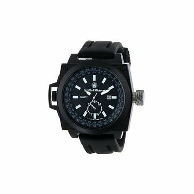 Smith & Wesson Mens SWW-LW6097 EGO Bold Large Black Dial Rubber Band Watch SWW-L