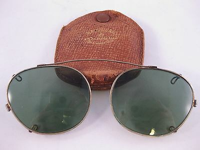 Vintage American AO Polaroid Day Glasses Sunglasses Clip On with Case
