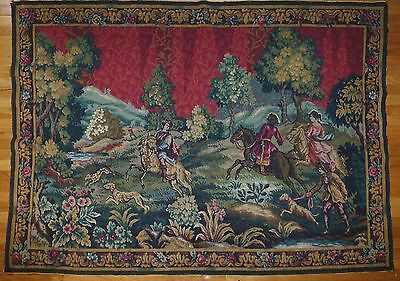 """Huge Rare Antique/ vintage French Wall Hanging Tapestry  83"""" x 59"""" hunting scene"""