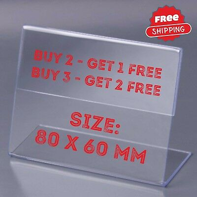 60 pcs Clear Acrylic Sign Display Holder Label Price Name Card Tag Shop 80x60 mm