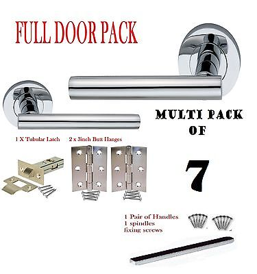 Multi 7 pack MODERN CHROME Door Handles Internal on Rose DOOR PACK
