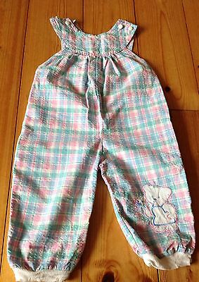 Vintage Pastel 80's Check Pink Green Dungarees 6-12 Months Girls Retro Teddy Vgc