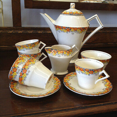 10 Pieces Stunning Art Deco *MYOTT* Coffee Set c.1930's? Incomplete Collectables