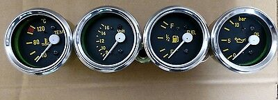 "Gauges Kit- Oil Pressure Bar+Temperature ""C+ Volt + Fuel Gauge 52mm Electrical"