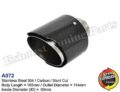Exhaust Tip Tailpipe trim S/Steel carbon 114mm for VW BMW MERCEDES MG NISSAN